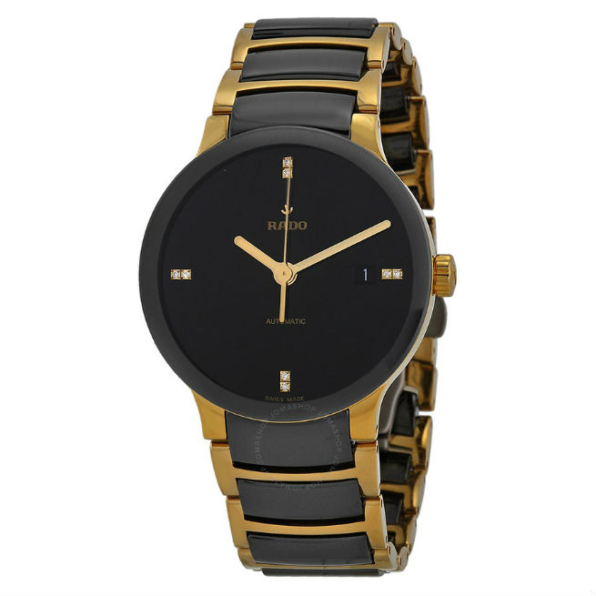 baselworld What You Can Find at Baselworld rado centrix black dial gold plated and black ceramic men s watch r30035712 5